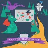 Illustrazione con i draghi del fumetto che progettano di catturare il reale Immagine Stock Libera da Diritti