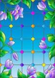 Illustrazione con i fiori blu, vetro macchiato d'imitazione Windows del vetro macchiato Fotografia Stock