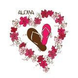 Illustrazione con i Flip-flop e la ghirlanda dei fiori dei leu illustrazione di stock