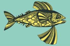 Illustrazione con i pesci, oceano di vettore Immagini Stock