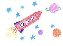 Illustrazione con i pianeti ed il razzo Fotografia Stock Libera da Diritti