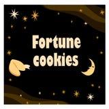 Illustrazione con il biscotto di fortuna con le stelle e la luna sui precedenti neri immagini stock