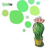 Illustrazione con il cactus di fioritura Fotografie Stock