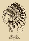 Illustrazione con il capo indiano del nativo americano Immagine Stock Libera da Diritti