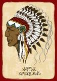 Illustrazione con il capo indiano del nativo americano Fotografia Stock
