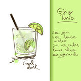 Illustrazione con il cocktail del tonico e del gin Fotografie Stock Libere da Diritti