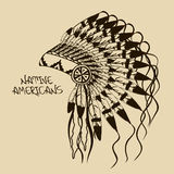 Illustrazione con il copricapo del capo indiano del nativo americano Fotografie Stock