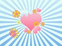 Illustrazione con il cuore ed i fiori di scena illustrazione vettoriale