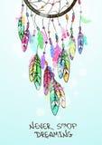 Illustrazione con il dreamcatcher americano degli indiani Immagini Stock