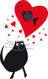 Illustrazione con il gatto di amore Immagine Stock
