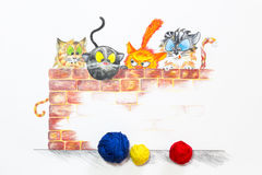 Illustrazione con il gruppo di gatti svegli e di palle variopinte della lana Fotografia Stock