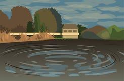 Illustrazione con il lago, gli alberi, il ponte e la casetta in de piano Immagine Stock