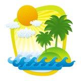 Illustrazione con il paesaggio tropicale Immagini Stock Libere da Diritti
