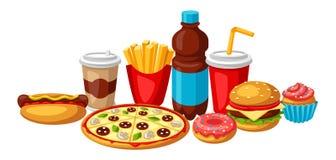 Illustrazione con il pasto rapido Prodotti saporiti del pranzo di pasto rapido illustrazione vettoriale