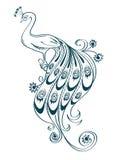 Illustrazione con il pavone ornamentale stilizzato Fotografia Stock