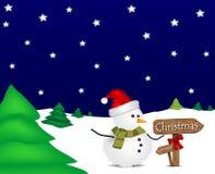 Illustrazione con il pupazzo di neve ed il contrassegno di natale Immagine Stock Libera da Diritti