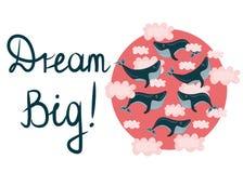 Illustrazione con il volo, balene di nuoto di vettore in nuvole rosa Grande di sogno Concetto di motivazione illustrazione di stock