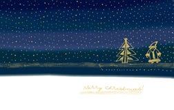Illustrazione con l'albero di Natale e del Babbo Natale. Immagini Stock Libere da Diritti