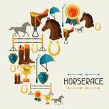 Illustrazione con l'attrezzatura del cavallo nello stile piano Fotografie Stock Libere da Diritti