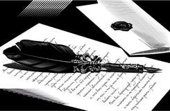 Illustrazione con l'immagine di una penna Fotografia Stock