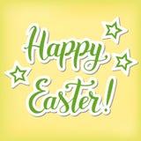 Illustrazione con l'iscrizione di calligrafia di Pasqua felice nel verde Fotografia Stock
