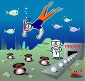Illustrazione con l'operatore subacqueo veduto sotto acqua indus Immagini Stock