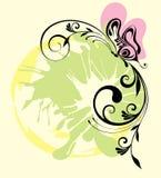 Illustrazione con la farfalla Immagini Stock