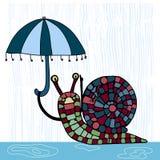 Illustrazione con la lumaca sveglia con l'ombrello Immagini Stock Libere da Diritti