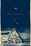 Illustrazione con la luna, la neve e l'albero di Natale. Immagini Stock Libere da Diritti