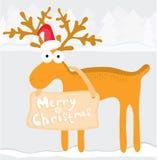 Illustrazione con la renna di natale Immagine Stock