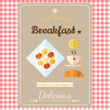 Illustrazione con le etichette, buongiorno con una prima colazione del fritto di Immagine Stock