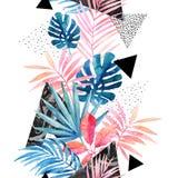 Illustrazione con le foglie tropicali, lerciume, strutture di marmorizzazione, scarabocchi, elementi geometrici e minimi di arte  royalty illustrazione gratis