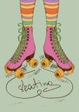 Illustrazione con le gambe delle ragazze ed il retro skat del rullo illustrazione di stock