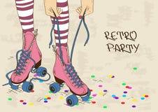 Illustrazione con le gambe femminili nei retro pattini di rullo Fotografie Stock Libere da Diritti