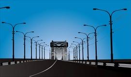 Illustrazione con le lampade di via e della strada Immagine Stock