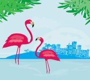 Illustrazione con le palme verdi ed il fenicottero rosa Fotografie Stock Libere da Diritti