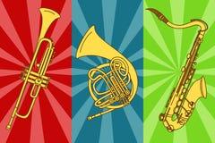 Illustrazione con le trombe ed il sassofono isolati illustrazione vettoriale