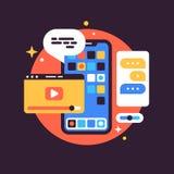 Illustrazione con lo Smart Phone e le applicazioni Fotografia Stock