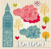 Illustrazione con Londra grande Ben Fotografia Stock Libera da Diritti