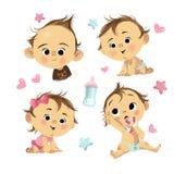 Illustrazione con quattro bambini e stelle con i cuori illustrazione di stock