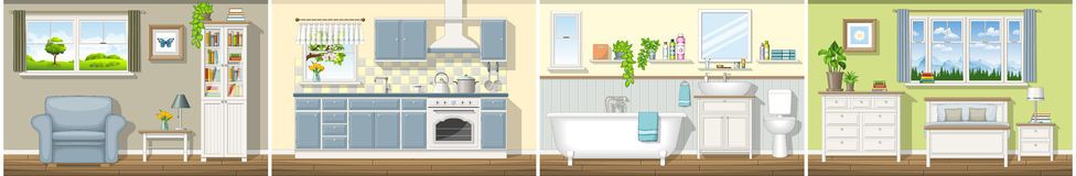 Illustrazione con quattro interni residenziali classici Immagine Stock