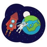 Illustrazione con un astronauta, razzo, luna, stelle nello spazio cosmico illustrazione di stock