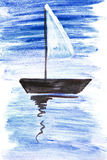 Illustrazione con una barca a vela Immagini Stock