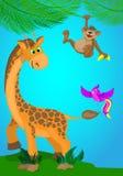Illustrazione con una giraffa, una scimmia e un uccello Fotografia Stock Libera da Diritti