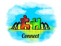 Illustrazione Concetto di affari di lavoro di squadra con il puzzle colleghi illustrazione di stock