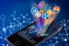 Illustrazione concettuale del logos di cryptocurrency che esce da a Fotografia Stock