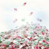 Illustrazione concettuale della valuta in denaro sulla luce solare Fotografia Stock
