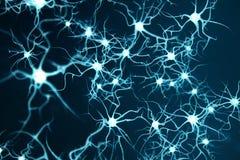 Illustrazione concettuale delle cellule del neurone con i nodi d'ardore di collegamento Neuroni in cervello sopra con effetto di  illustrazione di stock