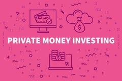 Illustrazione concettuale di affari con i soldi privati di parole dentro illustrazione vettoriale