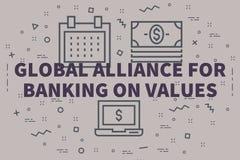 Illustrazione concettuale di affari con l'alleanza globale di parole royalty illustrazione gratis